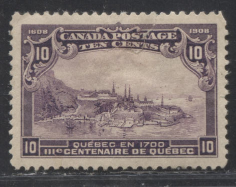 Canada #101 (SG#193) 10c Deep Purple Quebec Tercentenary Issue Coarse Mesh Paper A Very Fine Regummed Example