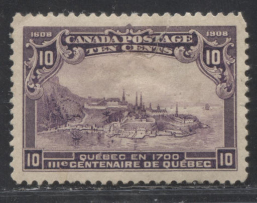 Canada #101 10c Violet Quebec in 1700, 1908 Quebec Tercentenary Issue, A VF Appearing But VG Mint Example With Small Part OG
