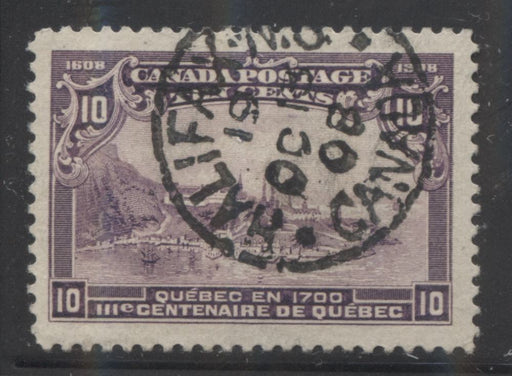 Canada #101 10c Deep Purple Quebec in 1700 1908 Quebec Tercentenary Issue A Beautiful CDS Used Example