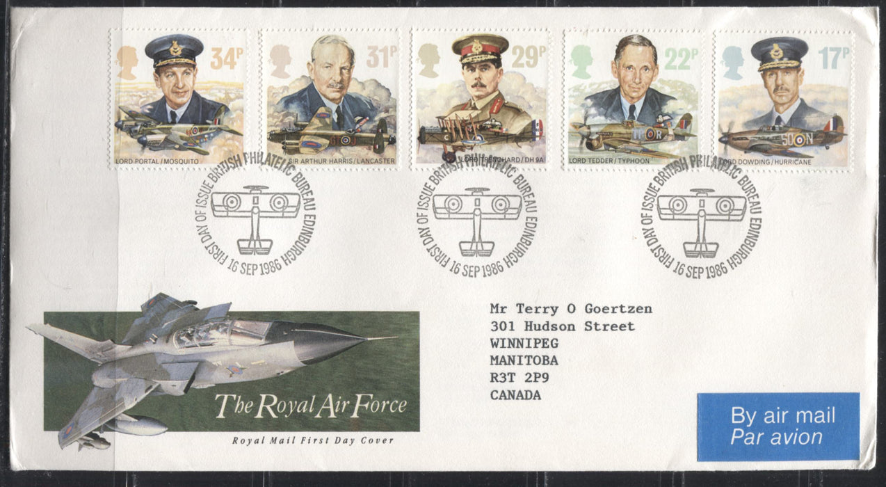 Great Britain SG#1312-1346 1986 Commemoratives - A Nearly Complete Set of 10 First Day Covers