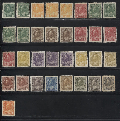 Canada #104/122b 1c Green - $1 Deep Orange King King George V,  1911-1928 Admiral Issue, A Specialized Lot of 33 Fine OG Stamps Including Many Shades and Printings