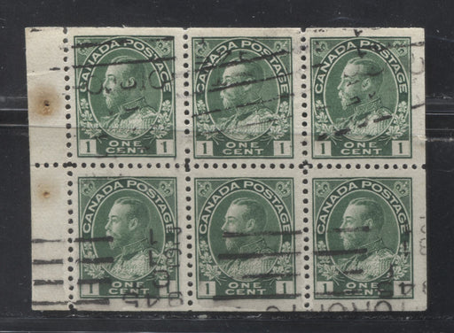 Canada #104a 1c Dark Green King George V, 1911-1928 Admiral Issue, Fine Used Booklet Pane of 6 of the 17.7 mm x 21.5 mm Wet Printing