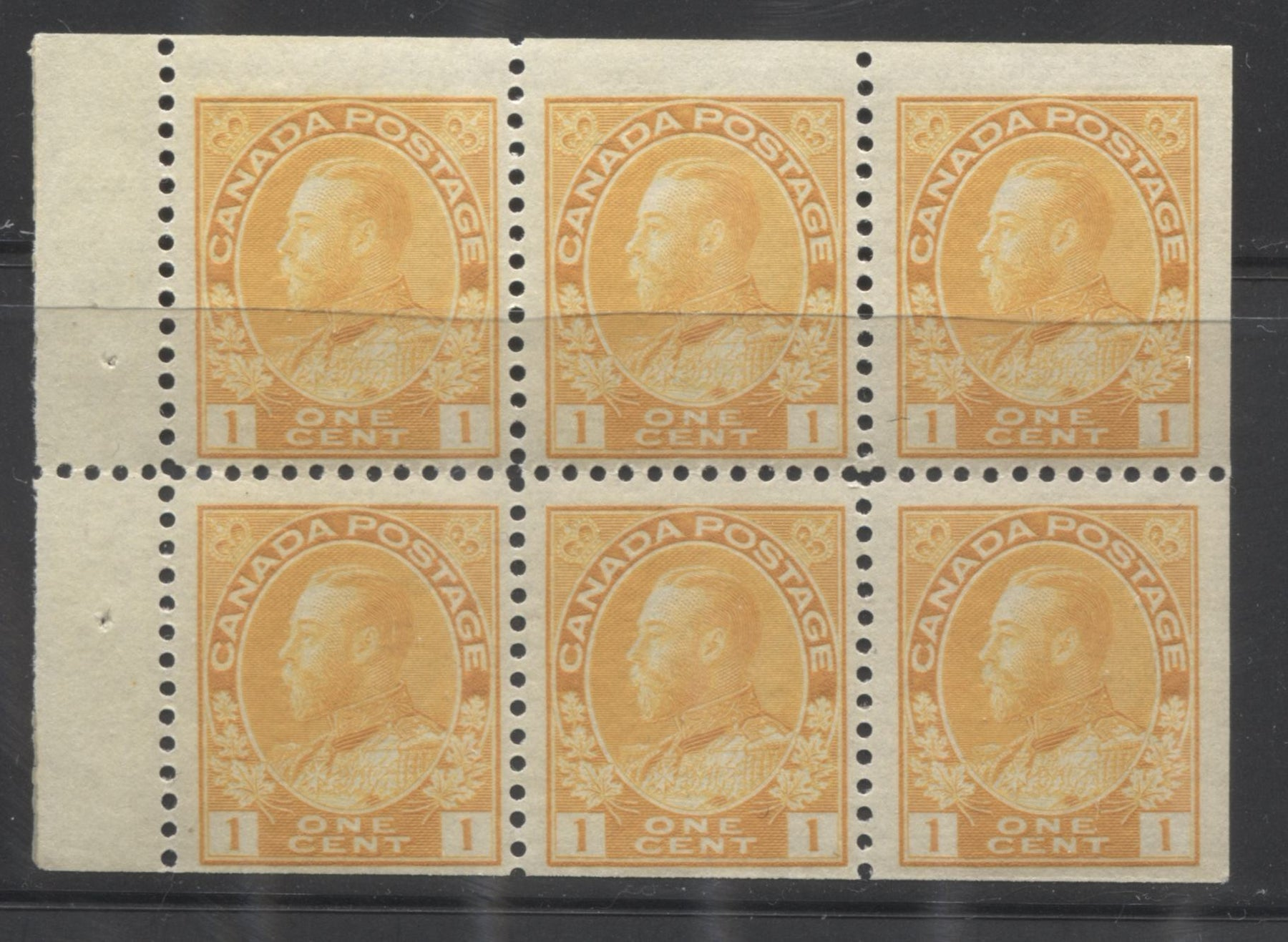 Canada #105b 1c Orange Yellow 1911-1928 Admiral Issue Die 1 Wet Printing, A Fine NH Example of the Booklet Pane of 6