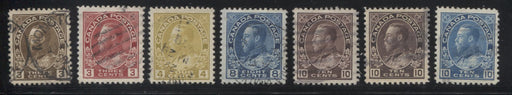 Canada #108c/117ii 3c Brown - 10c Blue King George V, 1911-1928 Admiral Issue, A Small Group of 7 VF Used Stamps