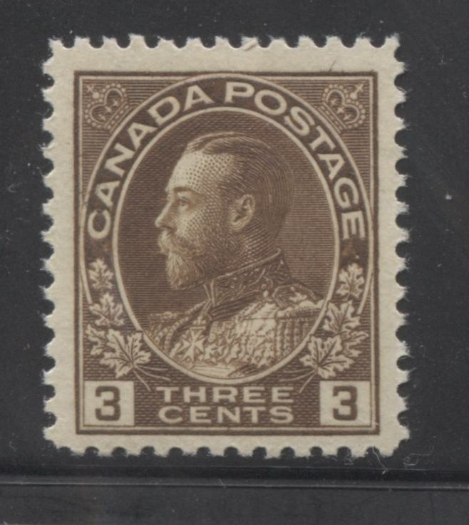 Canada #108c (SG#205) 3c Deep Yellowish Brown Admiral Issue Dry Printing, A Fresh Fine NH Example