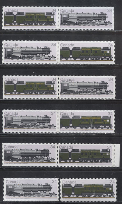 Canada #1118-1119aii 1986 Locomotives Issue, A Specialized Group of 12 VFNH Stamps, All Printed on Different Papers - All Listed and Unlisted Variations