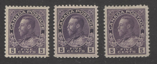Canada #112, 112a, 112c 5c Violet, Deep Violet and Reddish Violet, King George V 1911-1928 Admiral Issue Very Fine Mint OG Examples of Wet Printings on Norman and Thin Paper, and the Dry Printing