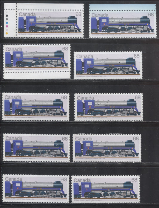 Canada #1121-1121ii 1986 Locomotives Issue, A Specialized Group of 10 VFNH Stamps, All Printed on Different Papers - All Listed and Unlisted Variations