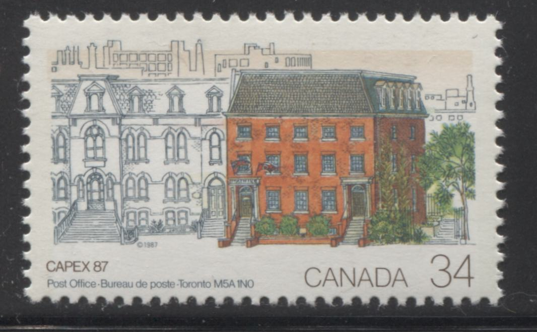 Canada #1122G2aT 34c Multicoloured, Post Office in Toronto, 1987 Capex '87 Issue, A VFNH Single Showing 3-Bar Tagging Error