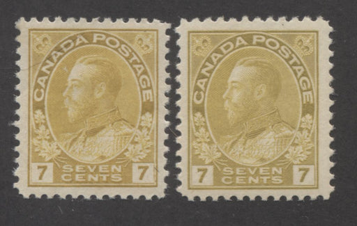 Canada #113, 113a 7c Yellow Ochre and Olive Bistre, King George V 1911-1928 Admiral Issue Very Fine Mint OG Examples of the First Two Listed Shades