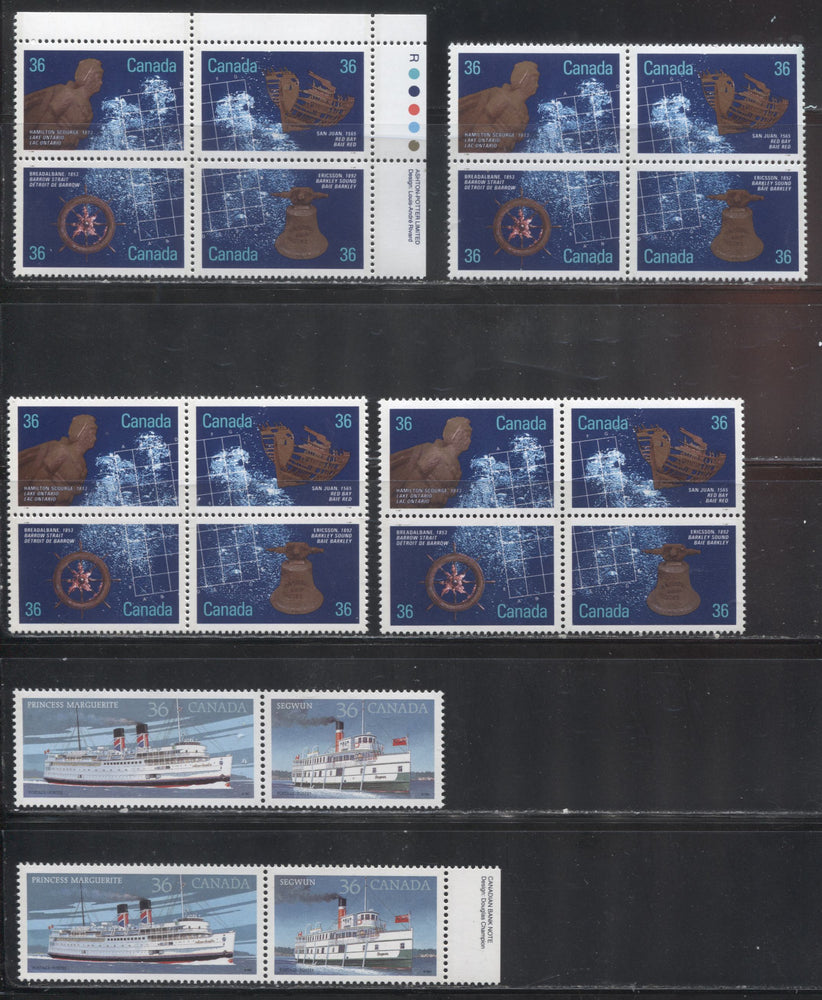 Canada #1140a, 1144a 1987 Steamships and Shipwrecks Issue, A Specialized Group of 2 VFNH Se-Tenant Pairs and 4 Se-Tenant Blocks, All Printed on Different Papers - All Unlisted Variations
