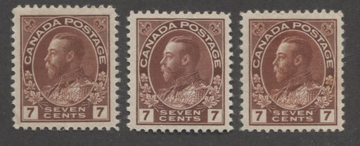 Canada #114, 114b 7c Red Brown, King George V 1911-1928 Admiral Issue Very Fine Mint OG Examples of the Wet and Dry Printings, Plus an Additional Shade Variant
