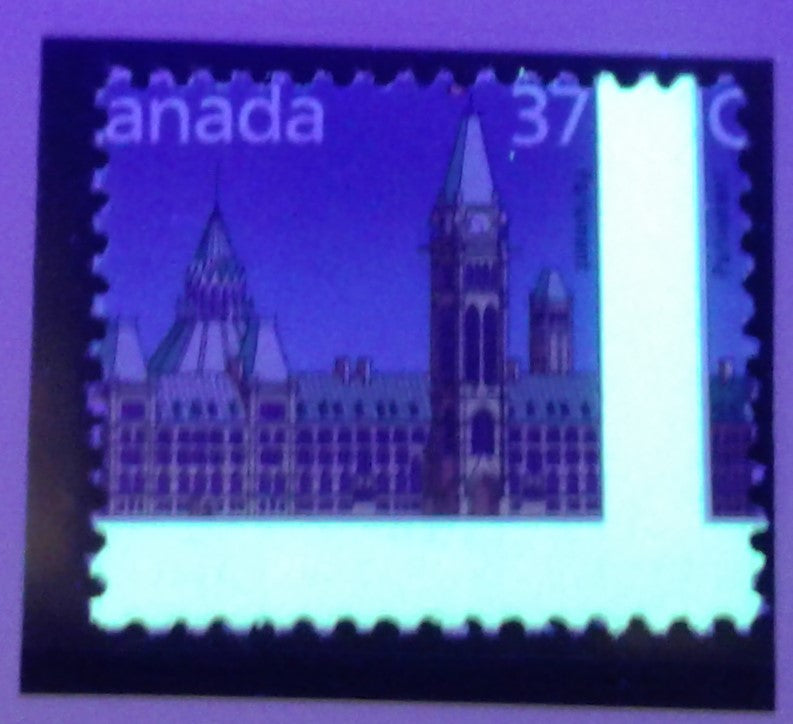 Canada #1163 37c Parliament Buildings 1988-1991 Wildlife and Architecture Issue, a VFNH Single Showing Significant Misperf, Resulting in a 2-Bar Tag Error