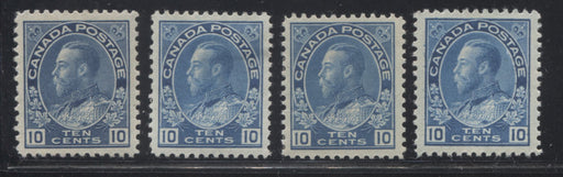 Canada #117a, 117ii 10c Blue and Light Blue, King George V 1911-1928 Admiral Issue Very Fine Mint OG Examples of the Wet and Dry Printings, Plus Two Additional Shade Variants of the Wet Printing