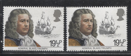 Great Britain SG#1188 1982 Maritime Heritage, Two VFNH Examples of the 19.5p Admiral Blake, One Showing a Significant Downward Shift of the Orange