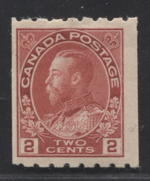 Canada #124 (SG#224b) 2c Rose Carmine 1911-27 Admiral Issue Perf. 8 Horizontally, a Fine Appearing But VG OG Mint Example