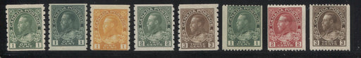 Canada #125/134 1c Green - 3c Brown, King George V 1911-1928 Admiral Issue Coil Stamps, A Nice FOG Group of 8 Stamps Including Shade Varieties