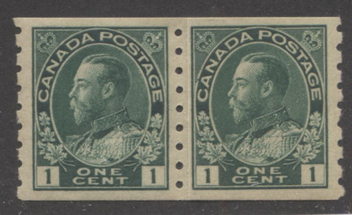 Canada #125i 1c Deep Green 1911-27 Admiral Issue Perf. 8 Vertical, A Very Fine Mint OG Paste-Up Pair