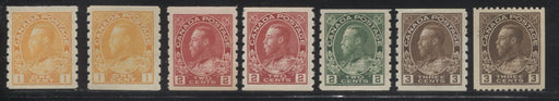 Canada #126/134 1c Orange Yellow - 3c Brown, King George V 1911-1928 Admiral Issue Coil Stamps, A Nice VFOG Group of 7 Stamps Including Shade Varieties