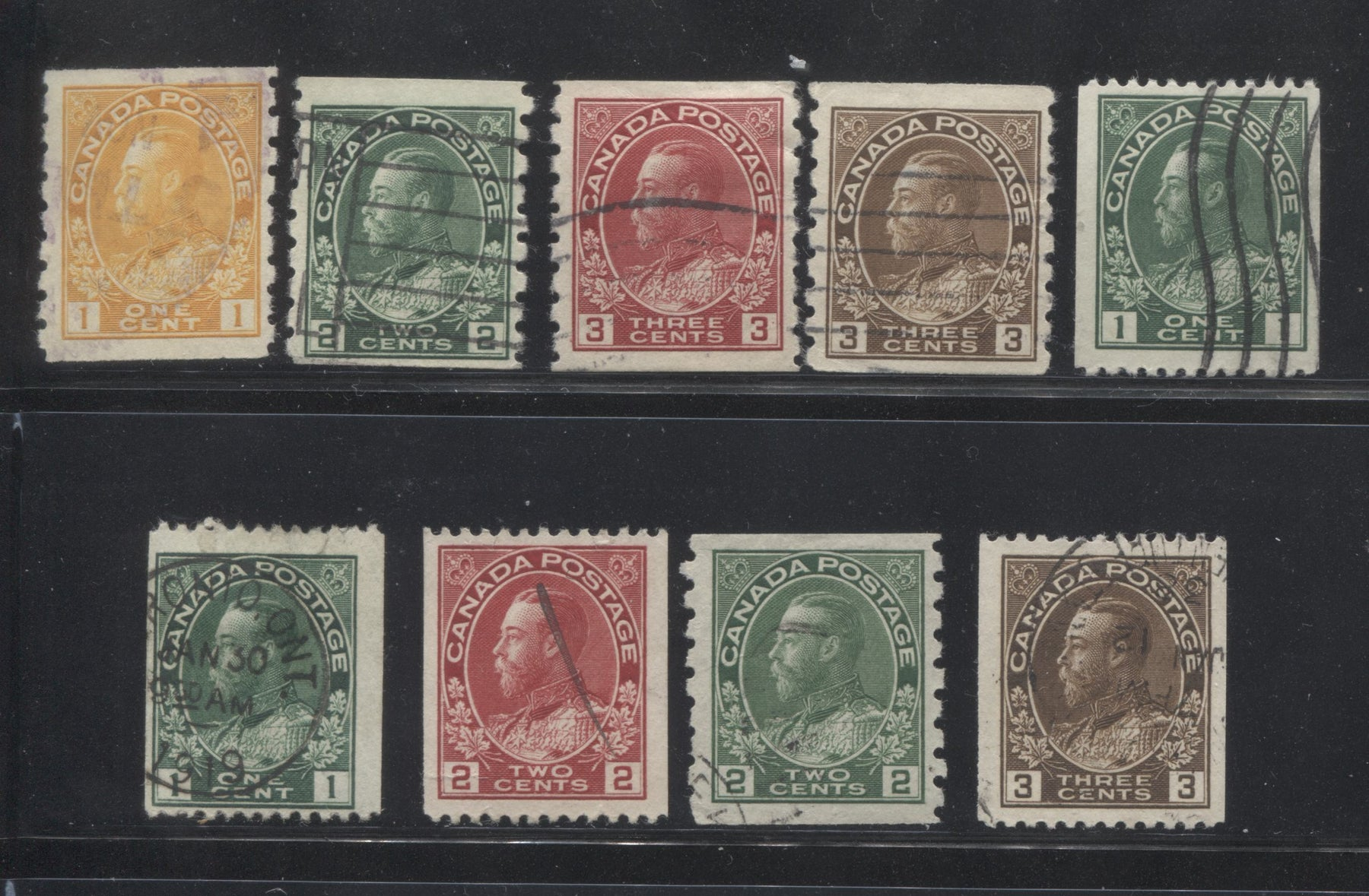 Canada #126/134 1c Orange Yellow - 3c Brown, King George V 1911-1928 Admiral Issue Coil Stamps, A Nice Fine Used Group of 9 Stamps Including Shade Varieties