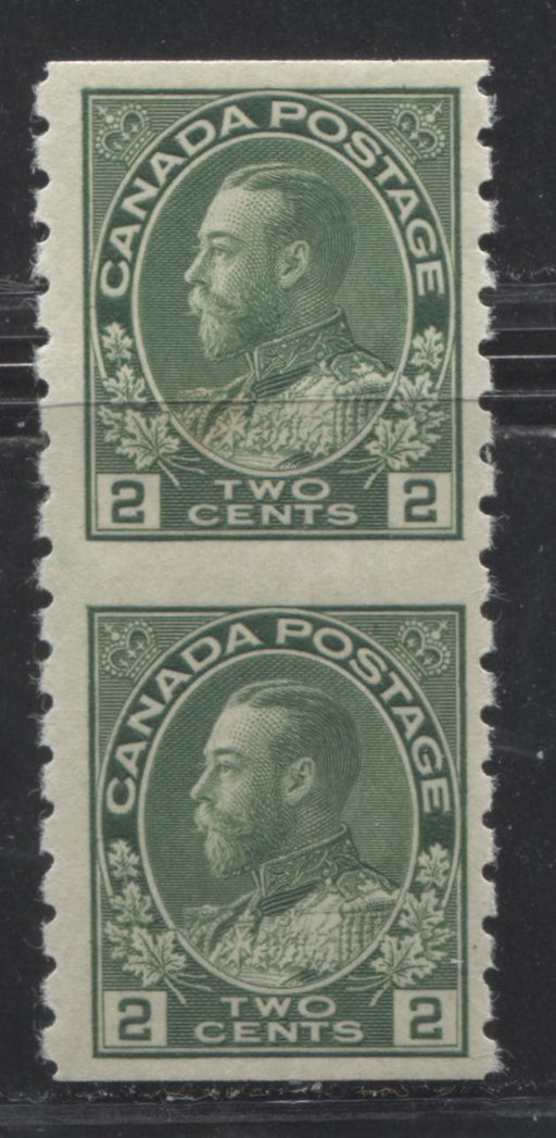 Canada #128a 2c Green King George V, 1911-1928 Admiral Issue, A Very Fine Mint LH Vertical Pair of the Dry Printing Part Perforate Coil
