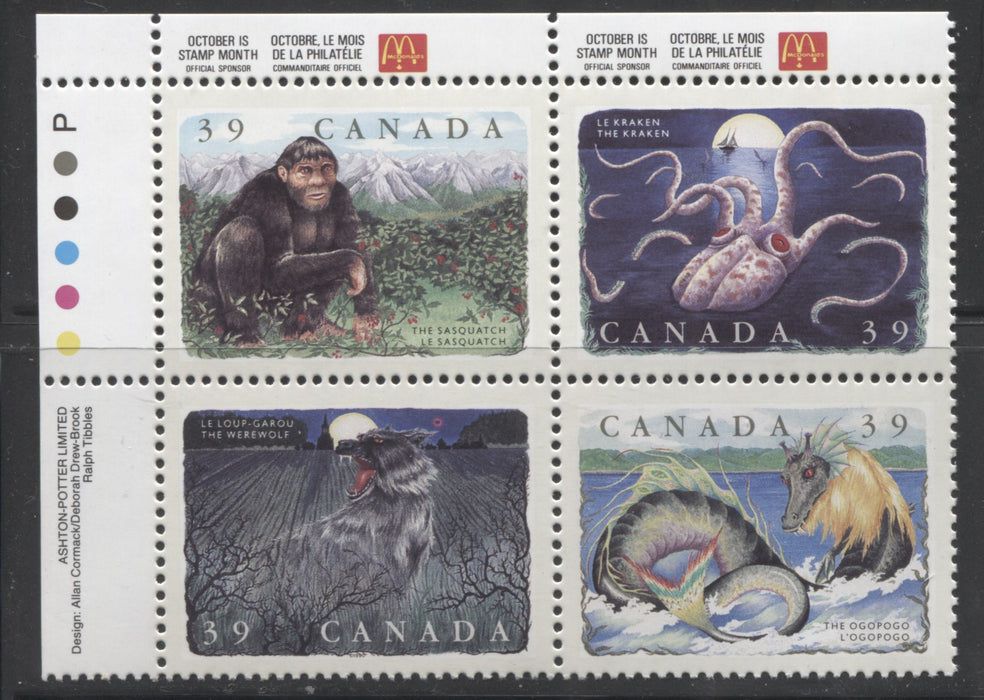 Canada #1292d 39c Multicoloured, 1990 Legendary Creatures Issue, a Rare VFNH Plate Block of the Scarce Perf, 12.5 x 12