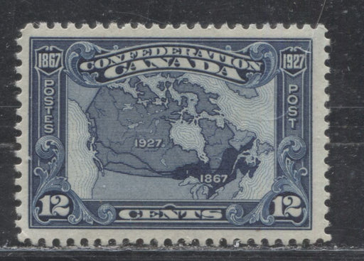 Canada #145 (SG#270) 12c Bright Indigo Map 1927 Confederation Issue, a Fine NH Example