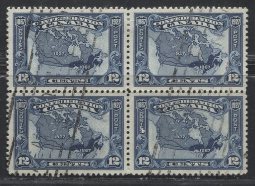 Canada #145 (SG#270) 12c Bright Indigo Map 1927 Confederation Issue, A Beautifully Centered VF Used Block