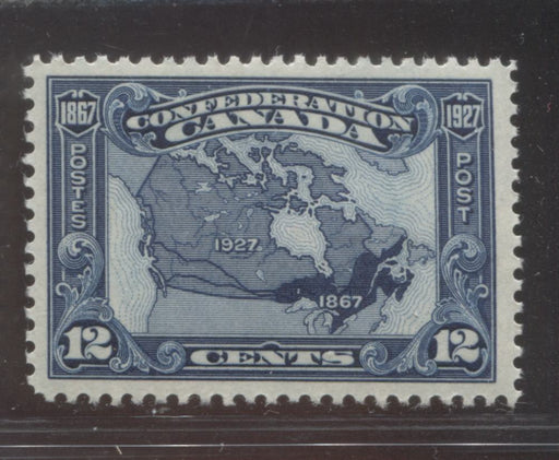 Canada #145 (SG#270) 12c Bright Indigo Map 1927 Confederation Issue Paper With No Mesh, a VFNH Mint Example