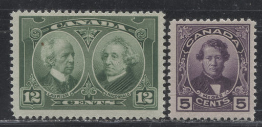 Canada #146-147 5c Deep Purple D'Arcy McGee & 12c Deep Yellowish Green Laurier & Macdonald 1927 Historical Issue, Fine NH Examples