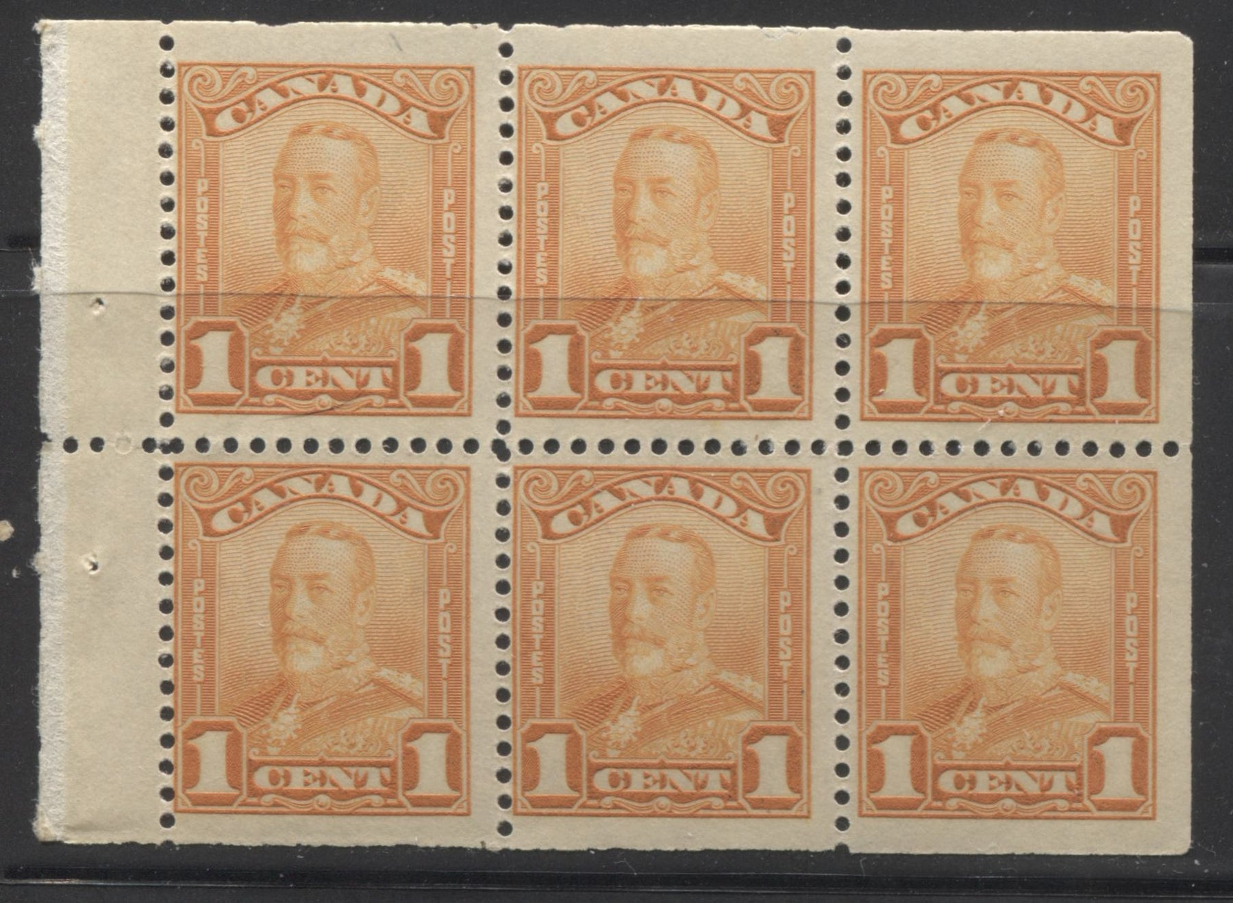 Canada #149a 1c Orange King George V,  1928-30 Scroll Issue, A Fresh and Fine NH Booklet Pane of 6