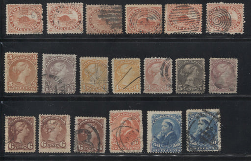 Canada #15/47 1859-64 Cents Issue - 1870-1897 Small Queen Issue - A Meaty Lot of Slightly Damaged but Relatively Attractive Stamps