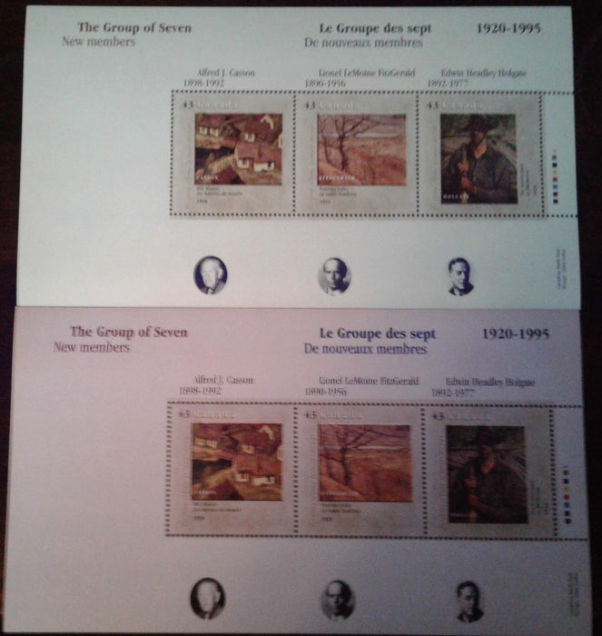 Canada #1559-1561 43c Multicoloured, 1995 Canada Day Group of 7 Issue, VFNH Examples of the Souvenir Sheets With Strong and Weak Tagging
