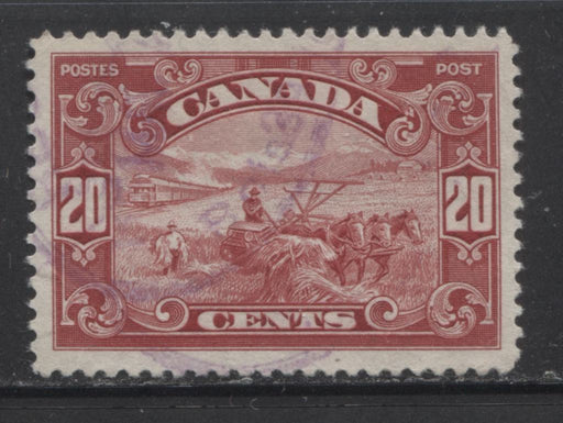 Canada #157 (SG#283) 20c Brown Lake  Harvesting Wheat 1928 Scroll Issue, Very Fine Used