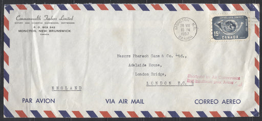 1957 UPU Congress Issue - Single Usage on Underpaid Double Weight Airmail Cover to the UK, Sent August 1957