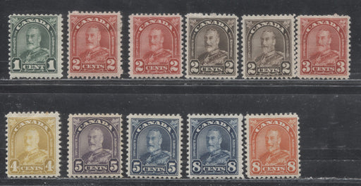 Canada #163b/172 1c Deep Green - 8c Red Orange King George V 1930-35 Arch Issue, a Fine Mint OG Nearly Complete Set to the 8c With Extra Die Types