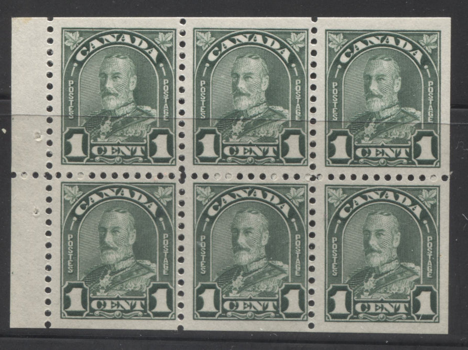 Canada #163c 1c Deep Green, King George V 1930-1935 Arch Issue, a Fine Mint NH Booklet Pane of 6
