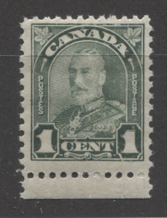"Canada #163ii 1c Deep Dull Green, King George V 1930-1935 Arch Issue, a Very Fine NH Example Showing the Major Re-Entry in ""1"""