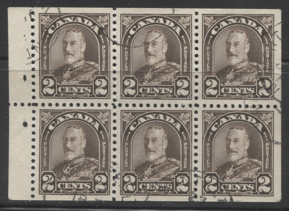 Canada #166c 2c Blackish Brown, King George V 1930-1935 Arch Issue, a Very Fine CDS Booklet Pane of 6