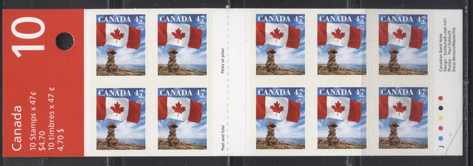 "Canada #BK236Aa 1999-2003 Trades & Wildlife Issue, a VFNH $4.70 Booklet Containing 47c Flag Over Inukshuk, Field Stock, LF JAC Paper, MF Cover, ""Moving?"" Ad on Back, Misplaced Die Cutting, Pattern 1"