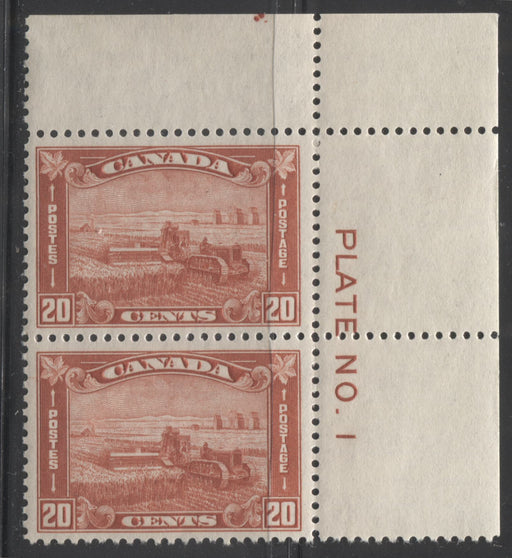 Canada #175 20c Brownish Vermilion Harvesting Wheat, 1930-35 Arch Issue, a VFLH Plate 1 Pair