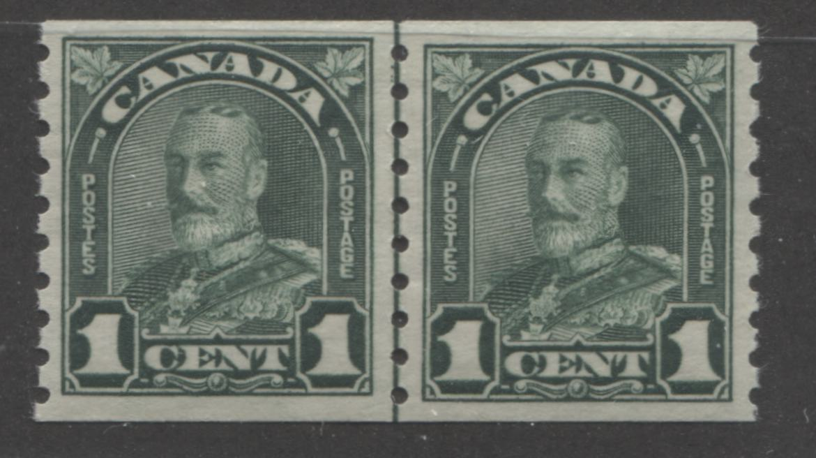 Canada #179i 1c Deep Bluish Green 1930-32 Arch Issue, A Very Fine NH Coil Line Jump Pair