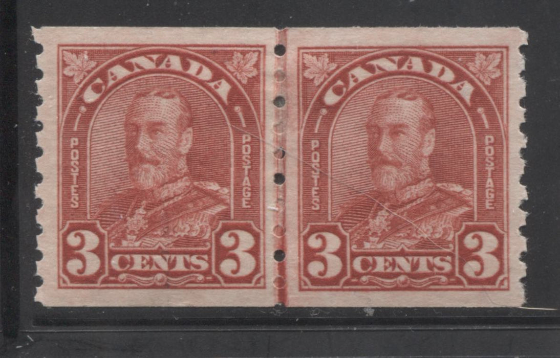 Canada #183i 3c Deep Red 1930-32 Arch Issue, A Very Fine Mint OG Line Coil Pair
