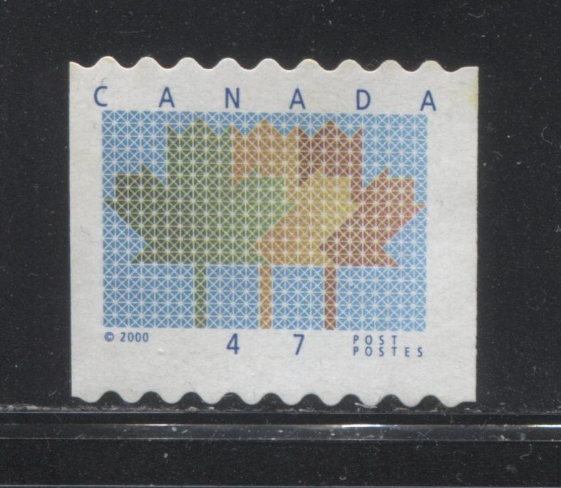 Canada #1878 47c Multicolored Maple Leaf Definitive Coil From the 1998-2003 Trades & Wildlife Issue, a VF Used Single With 2 mm Upward Tagging Shift