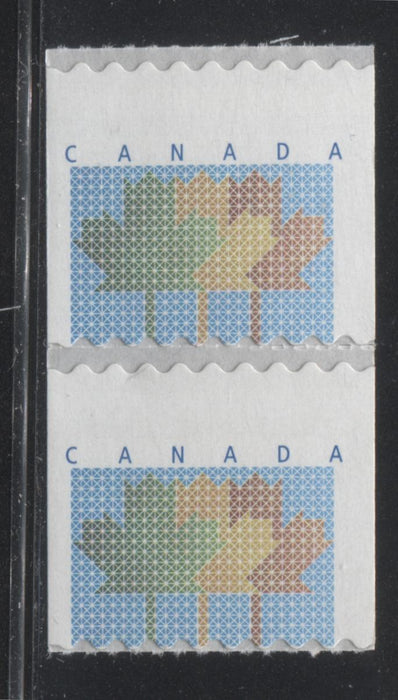 Canada #1878 47c Multicolored Maple Leaf Definitive Coil Pair From the 1998-2003 Trades & Wildlife Issue, Miscut With the 48c Inscription Missing