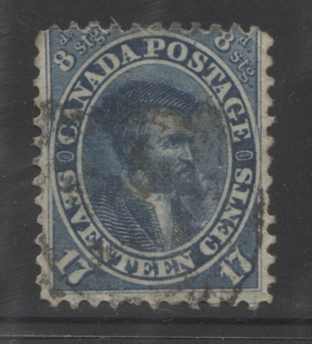 Canada #19 17c Dark Blue Jacques Cartier 1859-1867 First Cents Issue, a Very Good Appearing But Good Used Example  Perf. 11.75 x 12