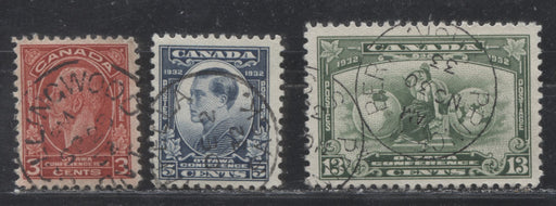 Canada #192-194 3c Scarlet-13c Green 1932 Ottawa Conference Issue, A Complete VF CDS Used Set