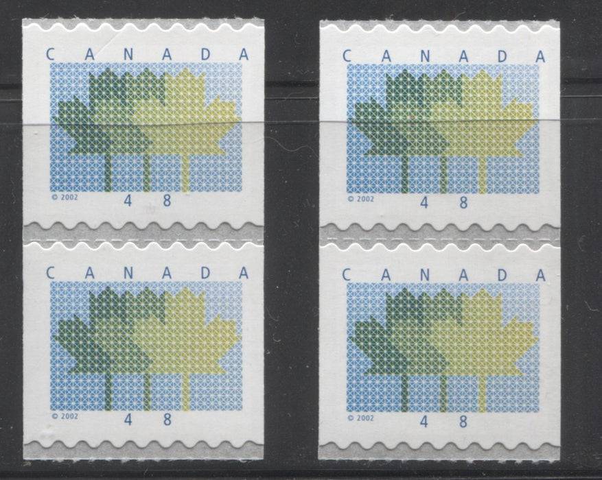Canada #1927var 48c Multicoloured Maple Leaf, 1998-2004 Trades and Wildlife Issue, Two VFNH Coil Pairs, Each Showing Errant Tagging Blotches