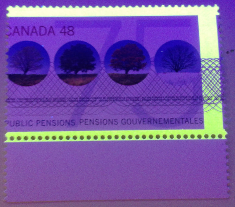 Canada #1959 G2aR 48c Multicoloured, 2002 Public Pensions Issue, a VFNH Single Showing Dramatic Misperf Causing a 3-Bar Tagging Error