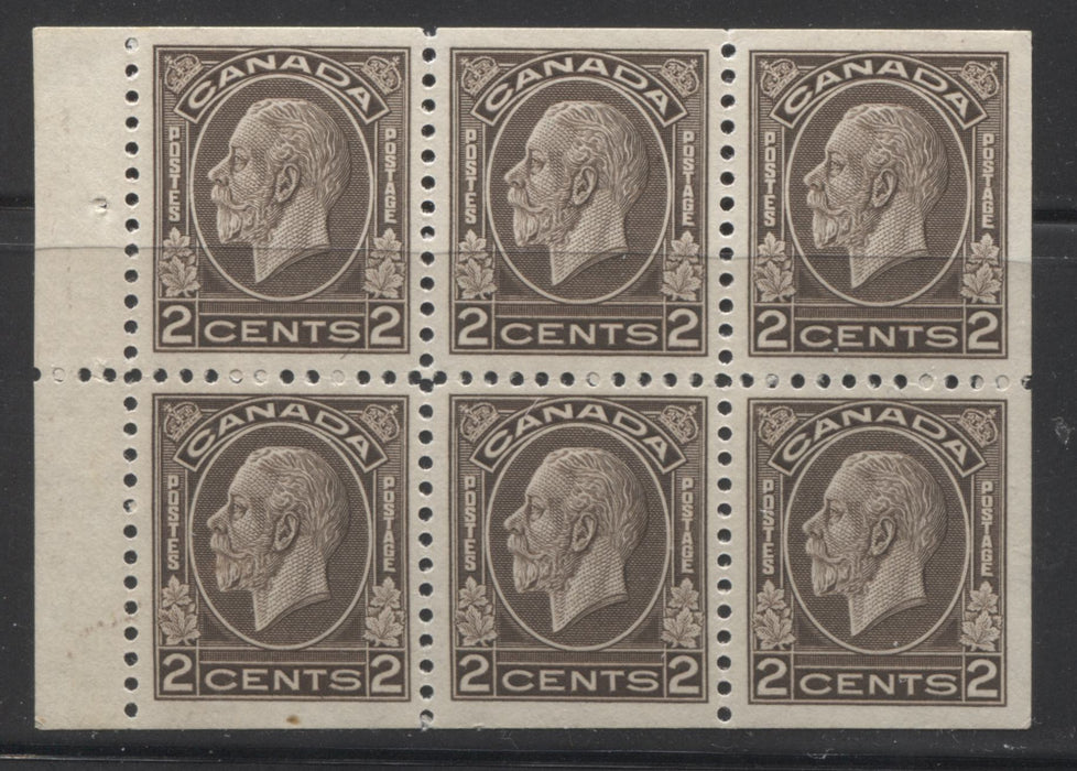 Canada #196b 2c Dark Brown King George V 1932-1935 Medallion Issue, a Very Fine Mint OG Booklet Pane of 6